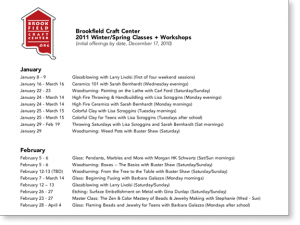 Brookfield Craft Center: Winter / Spring 2011 calendar (by date)