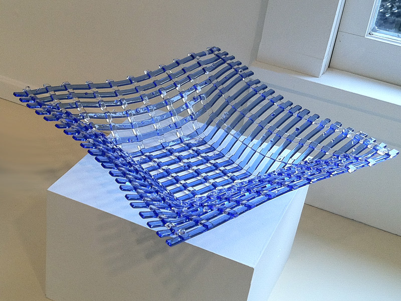 Blue lattice glass bowl by Kathy Corigliano