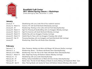 Brookfield Craft Center: Winter / Spring 2011 calendar (by date)